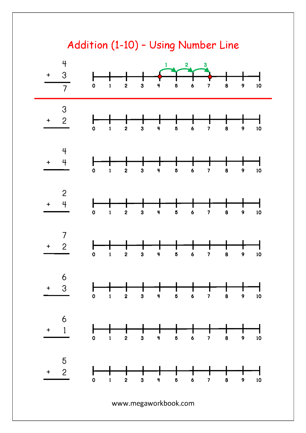 hight resolution of Free Printable Number Addition Worksheets (1-10) For Kindergarten And Grade  1- Addition On Number Line - Addition With Pictures/Objects - MegaWorkbook