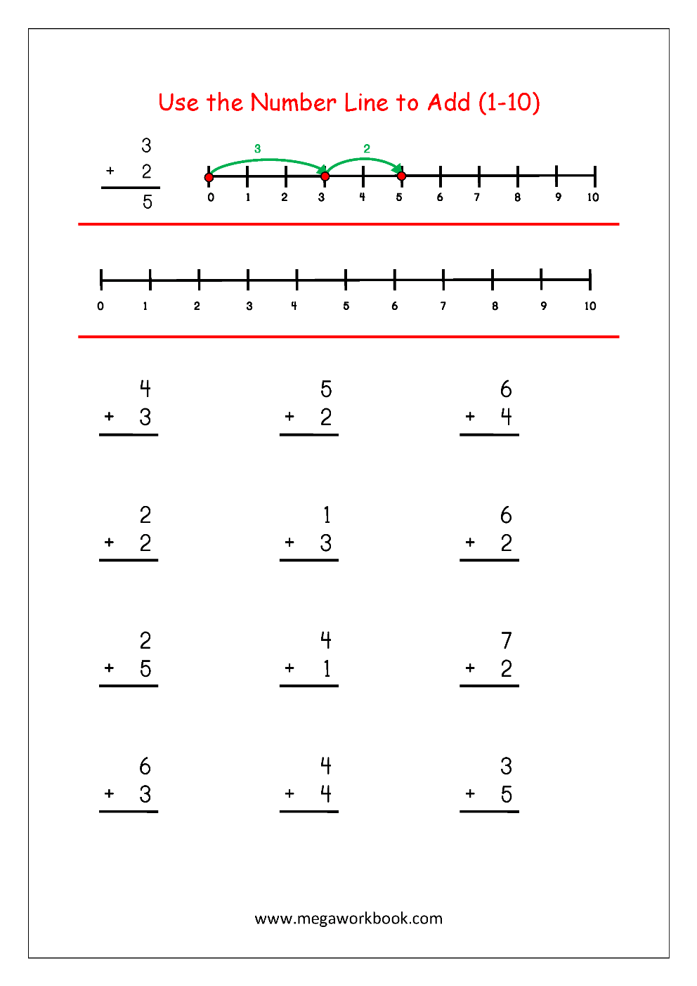 medium resolution of Free Printable Number Addition Worksheets (1-10) For Kindergarten And Grade  1- Addition On Number Line - Addition With Pictures/Objects - MegaWorkbook