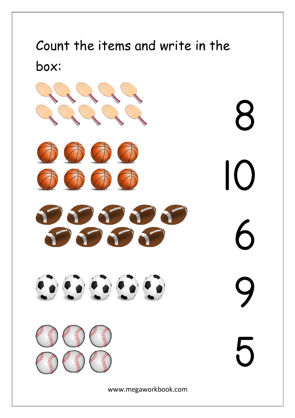 hight resolution of Free Printable Number Matching Worksheets For Kindergarten And Preschool -  Count And Match (1-10) - MegaWorkbook
