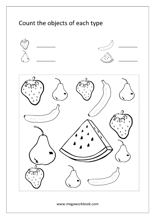 small resolution of Free Printable Number Counting Worksheets - Count and Match - Count and  Write - Count And Color The Objects - Math Worksheets For Preschool and  Kindergarten - MegaWorkbook