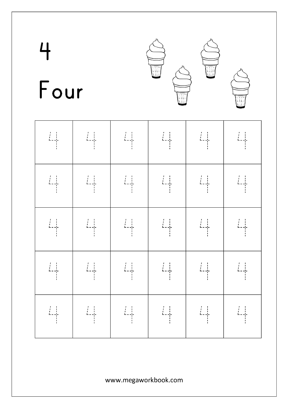 Free Printable Number Tracing and Writing (1