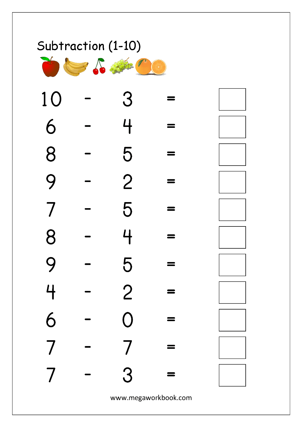medium resolution of Free Printable Number Subtraction (1-10) Worksheets For Grade 1 And  Kindergarten - Subtraction With Pictures/Objects To Cross Out - Subtraction  Using Number Line - MegaWorkbook