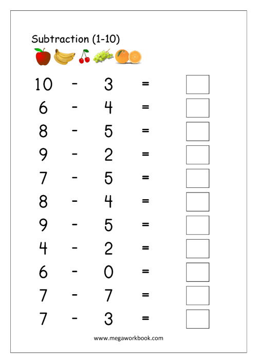 small resolution of Free Printable Number Subtraction (1-10) Worksheets For Grade 1 And  Kindergarten - Subtraction With Pictures/Objects To Cross Out - Subtraction  Using Number Line - MegaWorkbook
