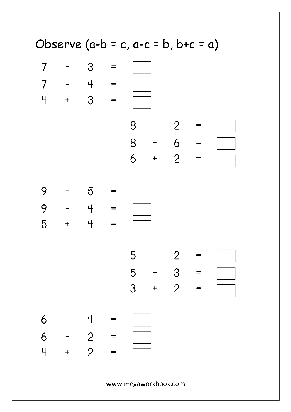 Free Printable Number Subtraction (1-10) Worksheets For