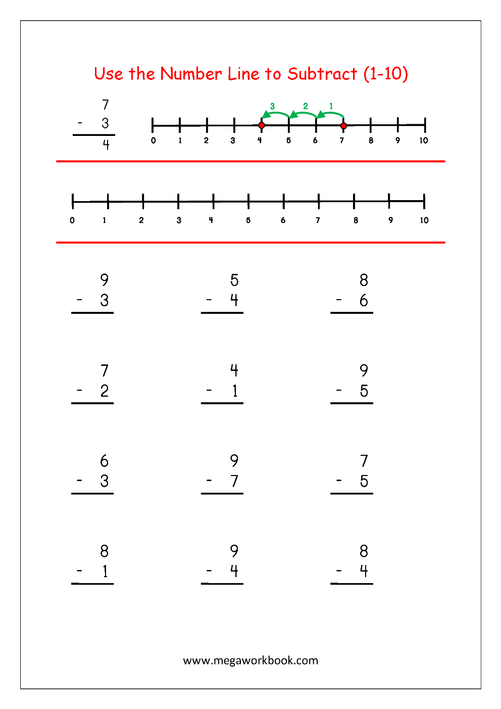 hight resolution of Free Printable Number Subtraction (1-10) Worksheets For Grade 1 And  Kindergarten - Subtraction With Pictures/Objects To Cross Out - Subtraction  Using Number Line - MegaWorkbook