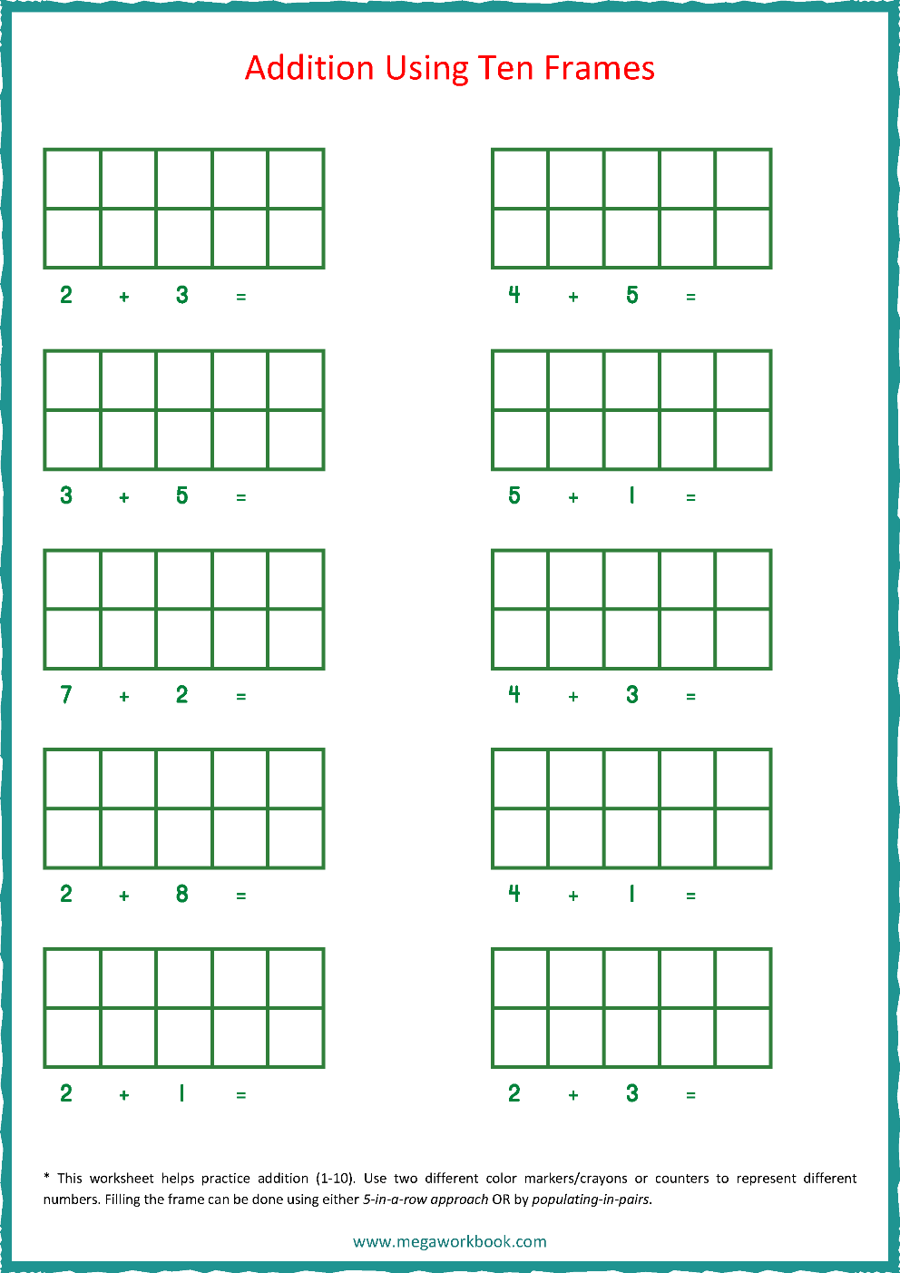 hight resolution of Ten Frame Worksheets - Ten Frames - 10 Frames (Counting