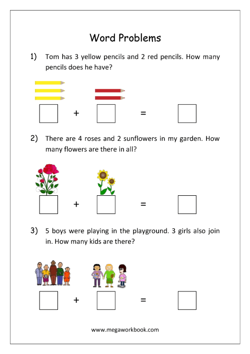 small resolution of Addition and Subtraction Word Problems Worksheets For Kindergarten and Grade  1 - Story Sums - Story Problems - MegaWorkbook