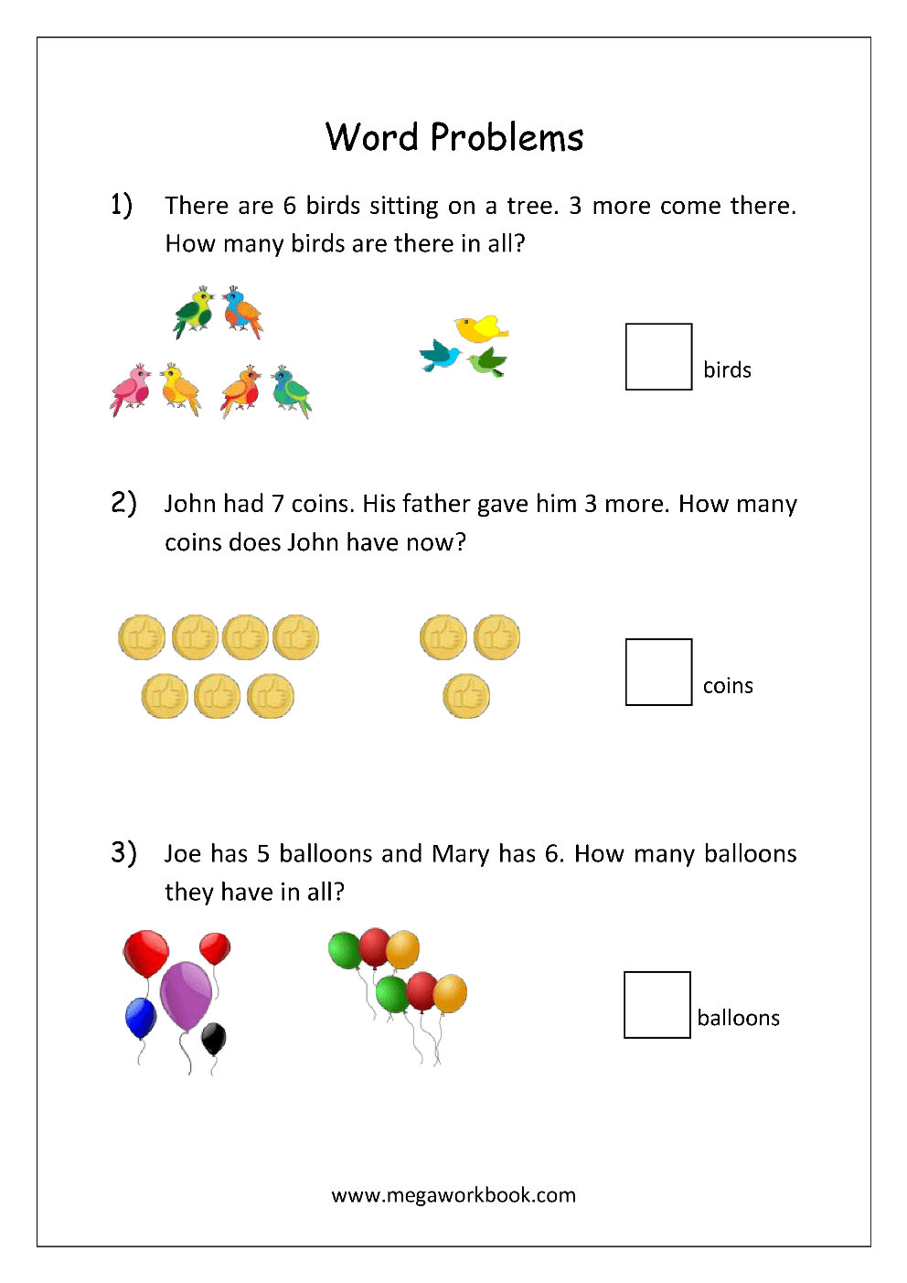 hight resolution of Addition and Subtraction Word Problems Worksheets For Kindergarten and  Grade 1 - Story Sums - Story Problems - MegaWorkbook