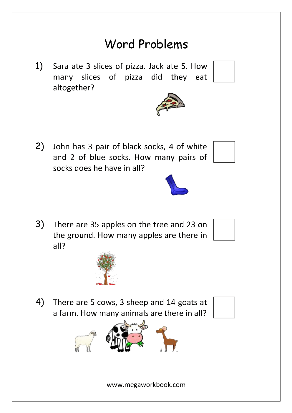 medium resolution of Addition and Subtraction Word Problems Worksheets For Kindergarten and  Grade 1 - Story Sums - Story Problems - MegaWorkbook