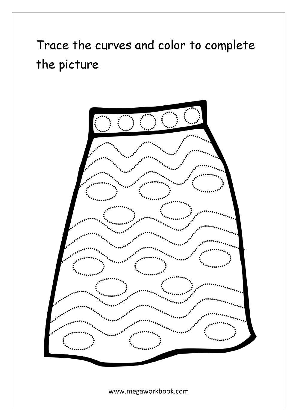 Curved Line Tracing Worksheets Preschool Sketch Coloring Page