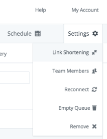 First step to disabling link shortening in Buffer – click on Settings for the profile.