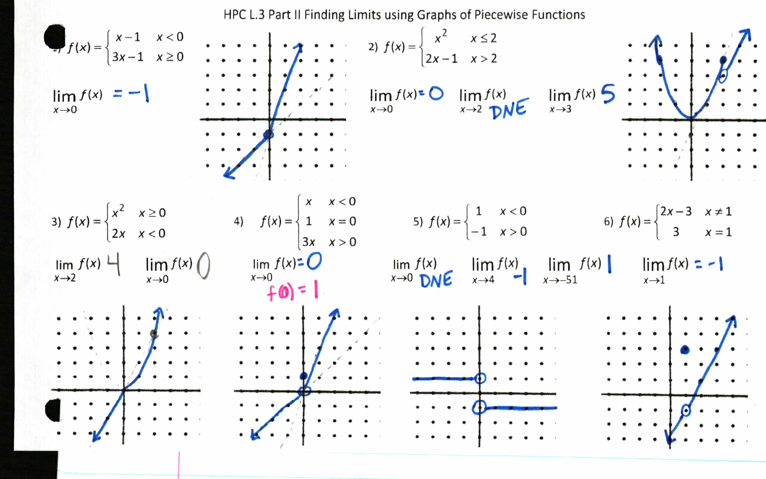 Limits Of Functions Worksheet