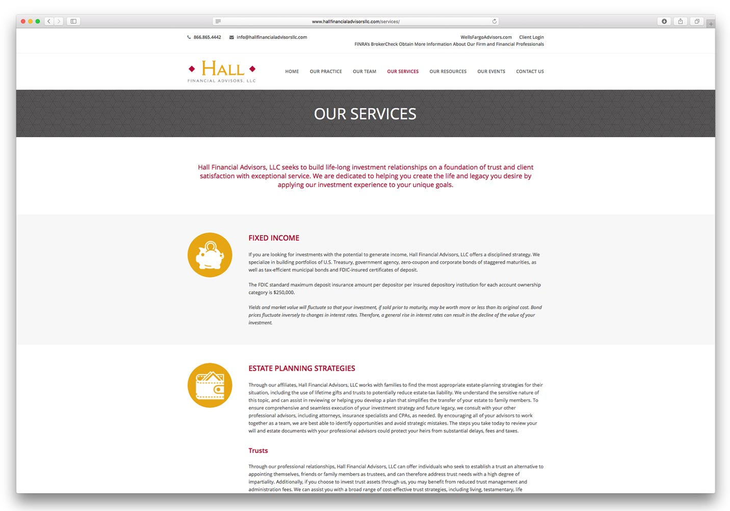 Hall Financial Advisors Website