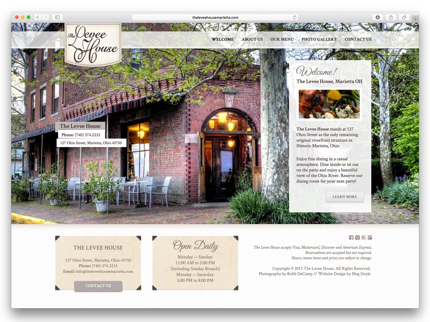 The Levee House Website