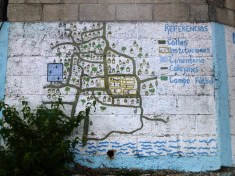 Map of the pueblo painted on the side of the main church