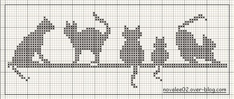 Schema Punto Croce Gatti Mono