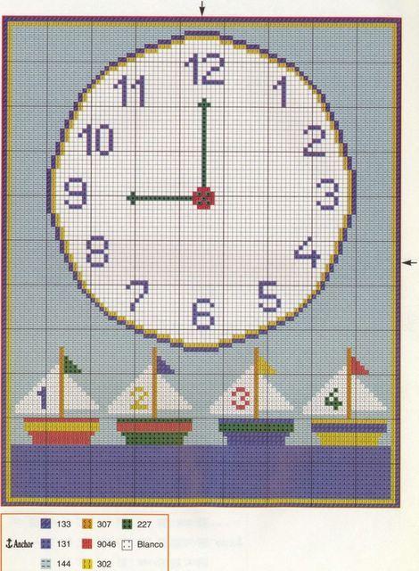 Schema punto croce Orologio Barchette