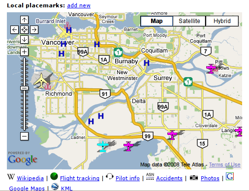 Screenshot of Vancouver map