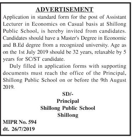 Teaching Jobs in Shillong Public School, Assistant