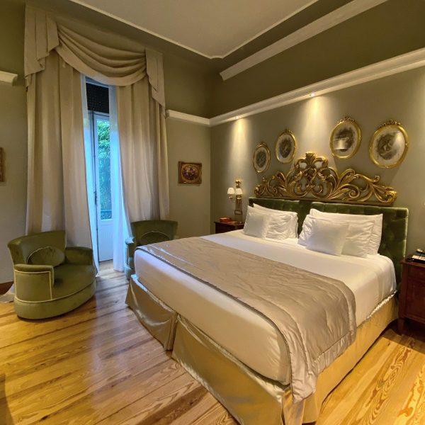 Il letto matrimoniale al Grand Hotel Tremezzo