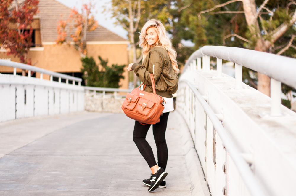 meg marie wallace green bomber jacket w/brown lily jade bag