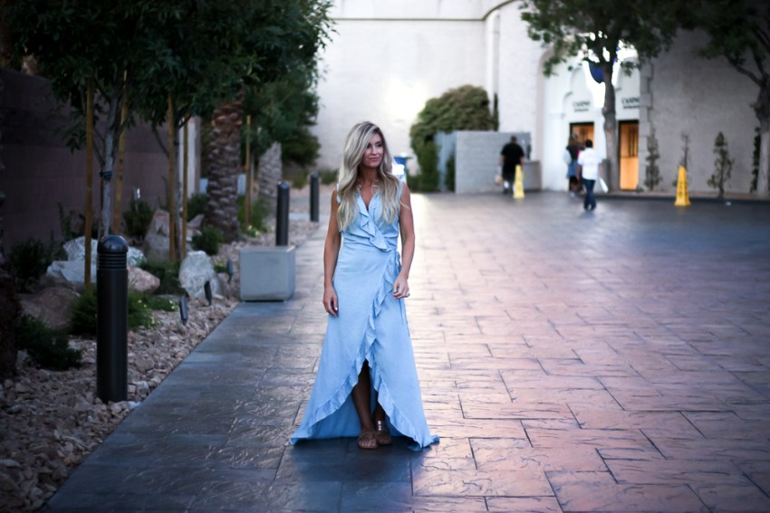 Vegas | Excalibur | blue ruffle dress | meg marie wallace