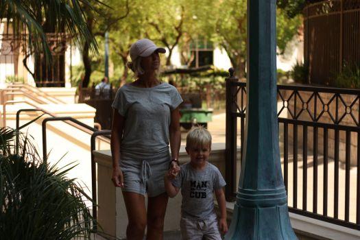 Mandalay Bay | open back grey romper | vegas vacation | meg marie and family | 2017