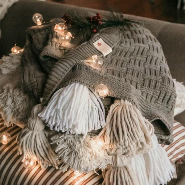 The Blitzen Medium Grey Sweater Pom Blanket | meg Marie Wallace | W6 Christmas Shop