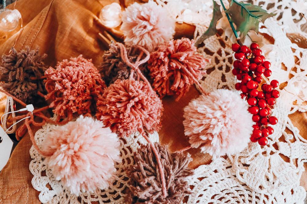 sugar plum pink pom garland | meg Marie Wallace | W6 Christmas Shop