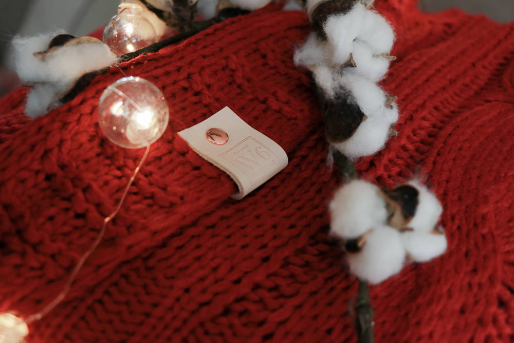 The Rudolph Red Sweater Pom Blanket | meg Marie Wallace | W6 Christmas shop