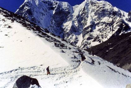 Headed for Gorak Shep in the March snow, Everest Base Camp trek