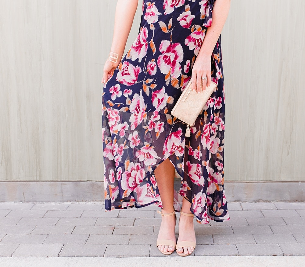 Houston lifestyle blogger Meg O. on the Go shares 3 perfect outfits for summer - this floral wrap dress is perfect to dress up and down