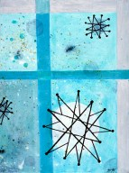 "Atomic Dinner Acrylic on Canvas, 2001, 9"" x 12"" Third in a trio of abstract paintings all inspired by the famous Franciscan Pottery atomic age turquoise starburst pattern. These studies focus on color and rendering techniques."