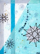 "Atomic Lunch Acrylic on Canvas, 2001, 9"" x 12"" Second in a trio of abstract paintings all inspired by the famous Franciscan Pottery atomic age turquoise starburst pattern. These studies focus on color and rendering techniques."