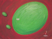 I Do Not Like This Painting Acrylic, Plastic Easter Eggs & Ham Assemblage on Canvas Mary-Margaret Stratton, 2003 I do not like green eggs and ham. I do not like them. Vegetarian I am.