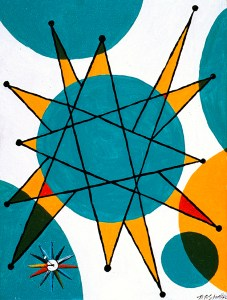 "Starlight Time Acrylic on Canvas, 2001, 9"" x 12"" The second in a triptic of abstract paintings which incorporate George Nelson designed clocks - this time with the colorful Starburst Clock."