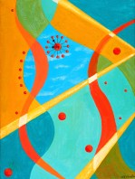 """Sunlight Time Acrylic on Canvas, 2001, 9"""" x 12"""" The first in a triptic of paintings inspired by George Nelson designed clocks - this one with the ball clock design. The clock tolls of a moment during the day when colors are their brightest with a slight nod to the surreal landscapes of Dali. This painting has exceptional significance to the artist as it was the first produced after countless years of inactivity. She dreamed of this painting for a year before finally taking brush to canvas."""