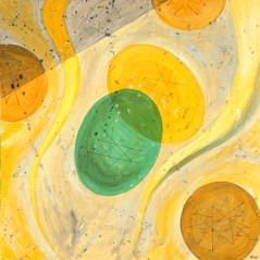 """Swallow Acrylic on Canvas, 2001, 20"""" x 20"""" Abstract shapes symbolize waves of time and show a certain vitality and movement with a decidedly downward thrust. Remember... thorough mastication and digestion are keys to good health!"""