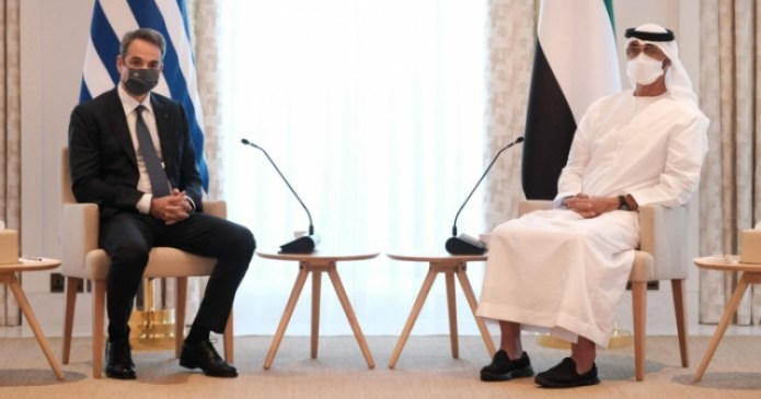 Greek Prime Minister Kyriakos Mitsotakis meets with Sheikh Mohammed Bin Zayed Al Nahyan, crown prince of the United Arab Emirates, on Nov. 18, 2020. (Photo from Greek Prime Minister's Office)