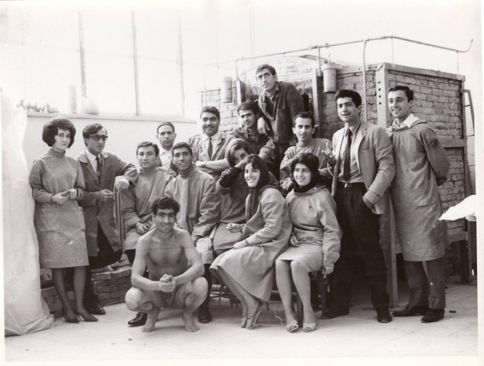 Tanavoli with students at Tehran University 1965 (Tanavoli's limited edition series of silver and bronze medallions (Photo courtesy of Parviz Tanavoli)