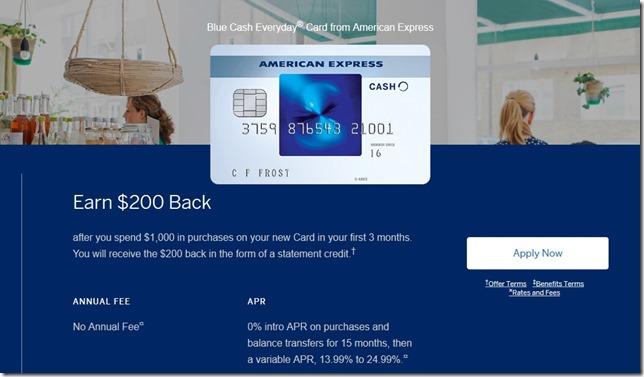 升级American Express Blue Cash Card 开卡奖励$200