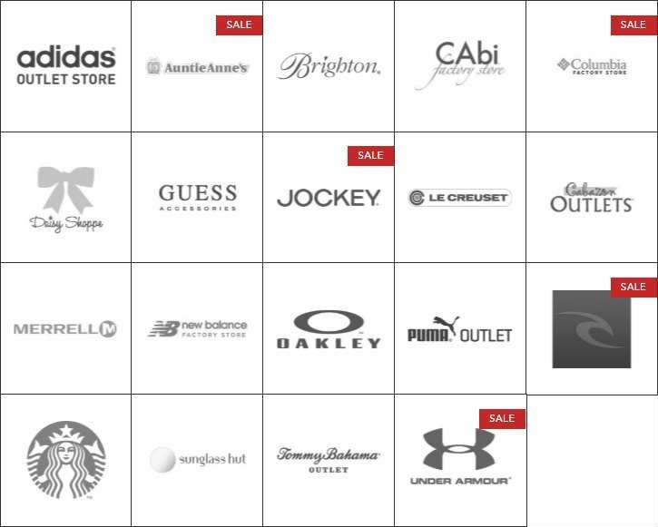 Cabazon Outlets 卡巴松奥特莱斯完整品牌商店目录