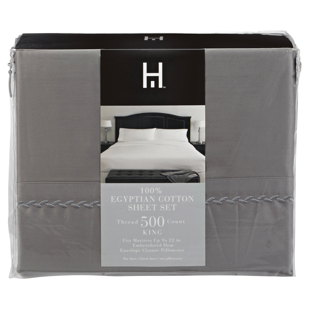 home 500 thread count egyptian cotton sheet set king frost gray