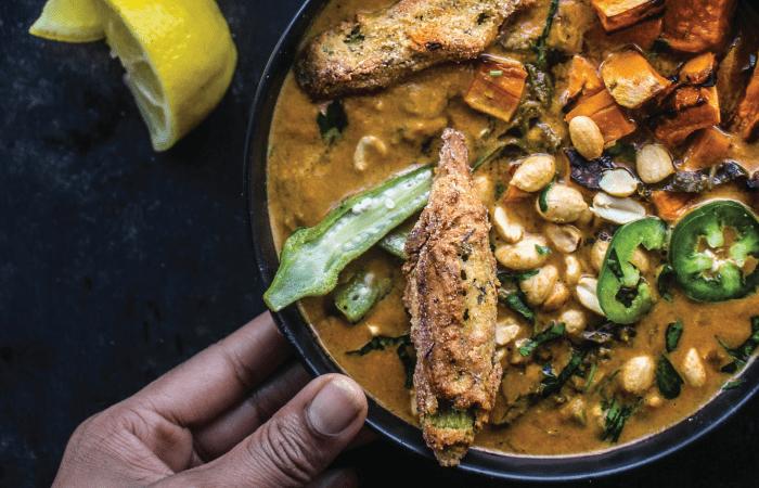 creamy-peanut-stew-with-crispy-baked-okra