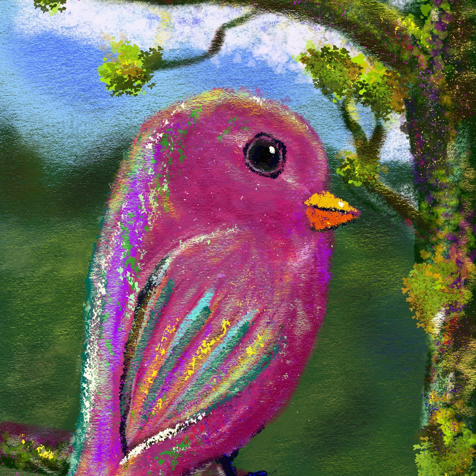A pastel painting of a pink bird sitting on a tree branch
