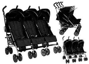Poussette triple Kids Kargo avec housse de pluie, pour triplés, naissances
