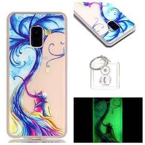 Coque Galaxy A8 Plus 2018 / A7 2018 TPU Transparent Coque, slim Bumper en silicone protection en Cristal transparent coque Noctilucent silicone gel pour Samsung Galaxy A8 Plus 2018 / A7 2018 + porte-clés (P) (9)