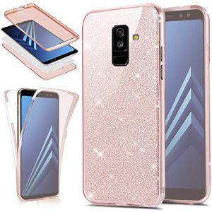 EINFFHO Coque Samsung Galaxy J8 2018, [3 in 1] Briller Brillant 360 Full-Body Avant+arrière Protecteur Bumper Ultra Mince Souple Silicone Housse Étui pour Samsung Galaxy J8 2018, Or Rose