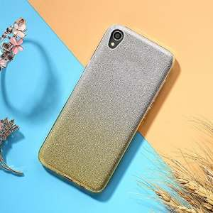 EINFFHO Coque Sony Xperia XA1 Plus, 2 in 1 Design créatif Luxe Gradient Glitter Brillant Briller Bling Ultra Mince Souple Silicone Housse Étui Coque pour Sony Xperia XA1 Plus, Or