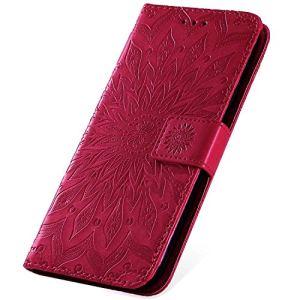 SainCat Ultra Mince Portefeuille Magnet Flip Cuir Fleur de Prunier Cover Wallet Fonction Support Antichoc Bumper Coque Compatible avec Galaxy Core Prime SM-G360-Rose Rouge
